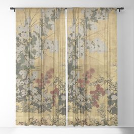 White Red Chrysanthemums Floral Japanese Gold Screen Sheer Curtain