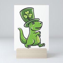 Funny St Patricks day T-Rex product - perfect outfit Mini Art Print