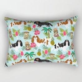 Cavalier King Charles Spaniel tiki hawaiian island tropical dog breed pattern dogs Rectangular Pillow