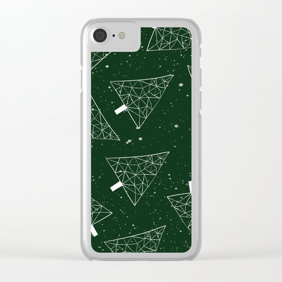 Christmas Trees Green Clear iPhone Case