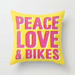 Peace Love & Bikes Throw Pillow