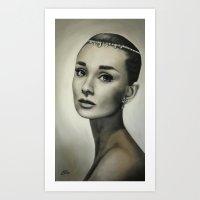 hepburn Art Prints featuring Audrey Hepburn by Claire Lee Art