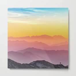Climb the Rainbow Mountain Metal Print