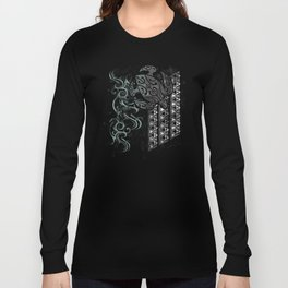 Slate Polynesian Tribal Turtle Grunge Long Sleeve T-shirt