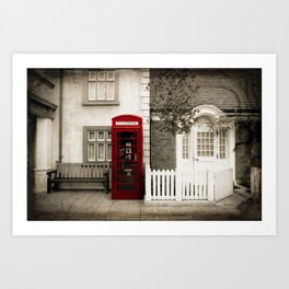 Red Telephone Booth Sepia Spot Color Photography Art Print
