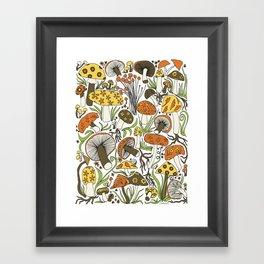 Hand-drawn Mushrooms Framed Art Print