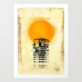 Sunset Boat Silhouette Art Print