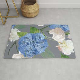 Blue Hydrangea on Gray Rug
