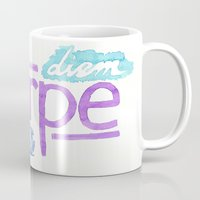 carpe Mugs featuring carpe diem / carpe noctem by maple
