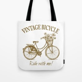 Vintage Bicycle With Sunflower Basket Tote Bag