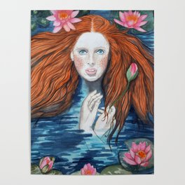 Water Nymph in a bath with a Lotus Poster