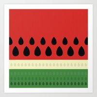 watermelon Art Prints featuring watermelon by ValoValo