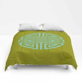 Shou Longevity In Green And Turquoise Comforters