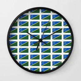 flag of Salomon -Salomon,salomon islander,santa isabel,nggela,malaita,honiara,guadalcanal Wall Clock