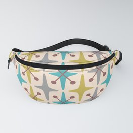 Mid Century Modern Abstract Star Pattern 441 Gray Brown Turquoise Olive Green Fanny Pack