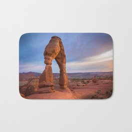 Golden Arch - Delicate Arch at Sunset in Utah Bath Mat