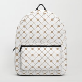 Pantone Hazelnut Thin Line Stripe Grid (Pinstripe) and Polka Dots on White Backpack