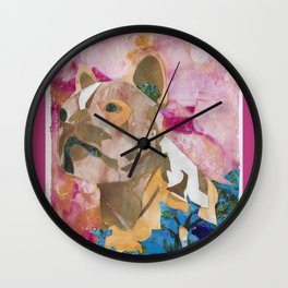 Trip the French bulldog paper mosaic Wall Clock