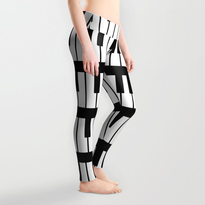 Black And White Piano Keys Pattern Leggings