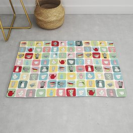 Retro Coffee Pots and Cups Pattern Rug