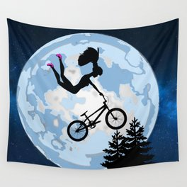 Barbie Riding A BMX - ET Style - With Pink Stilettos! Cool Barbie Art! Wall Tapestry
