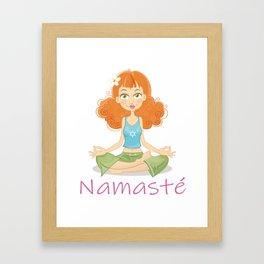 Smiling Girl practising Yoga Lotus Pose Framed Art Print