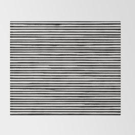 Skinny Stroke Horizontal Black on Off White Throw Blanket