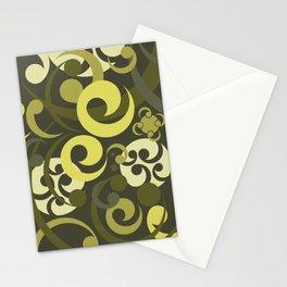 Koru Waves In Olive Colours Stationery Cards