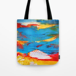 Red Yellow and Blue Abstract Splash Tote Bag
