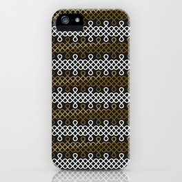 Endless Knot pattern - Gold & white iPhone Case