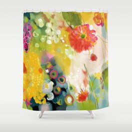 abstract floral art in yellow green and rose magenta colors Shower Curtain