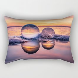 Double Beach Lensball Reflections (purple, pink, orange) Rectangular Pillow