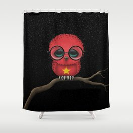 Baby Owl with Glasses and Vietnamese Flag Shower Curtain
