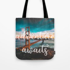 ADVENTURE AWAITS - wall tapestry - travel - water - landscape nature photography tapestries love Tote Bag