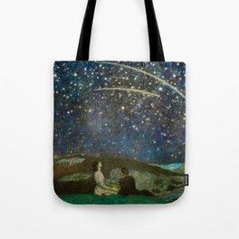 Shooting Stars, Summer Night by the Sea, Watch Hill, Rhode Island landscape by Franz Von Stuck Tote Bag
