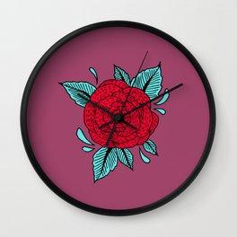 Cosmic Rose Red Wall Clock