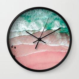 Beach in Portugal, Algarve, Lagos, Beach Print, Pink Beach Print, Bondi Beach, Pink Print, Ocean Wall Clock