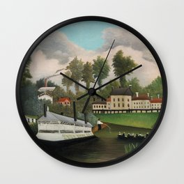 The Laundry Boat of Pont de Charenton, Fine french art,  by Henri Rousseau Wall Clock