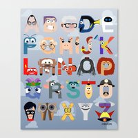 pixar Canvas Prints featuring P is for Pixar (Pixar Alphabet) by Mike Boon