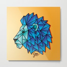 Triangular Abstract Lion in Shades of Blue Metal Print