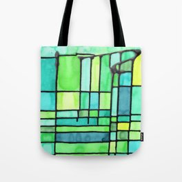 Green Frank Lloyd Wrightish Stained Glass Tote Bag