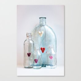 Bottles with love Canvas Print