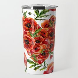 Poppy Heart pattern Travel Mug