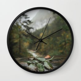 Lonely leaf | nature photography green moody landscape view art print Wall Clock
