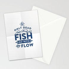 Only the dead fish go with the flow Stationery Cards