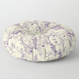 just alpacas purple cream Floor Pillow