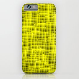 Square intersections yellow lines on a dark tree. iPhone Case