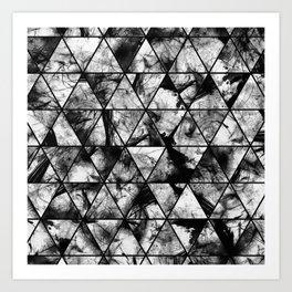 Triangular Whispers - Black and white, geometric abstract Art Print