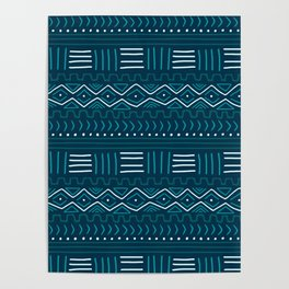 Mudcloth on Teal Poster