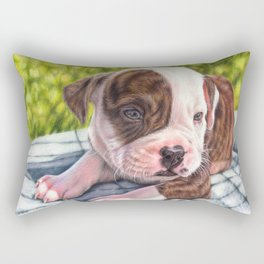 American bulldog puppy colored pencil drawing Rectangular Pillow